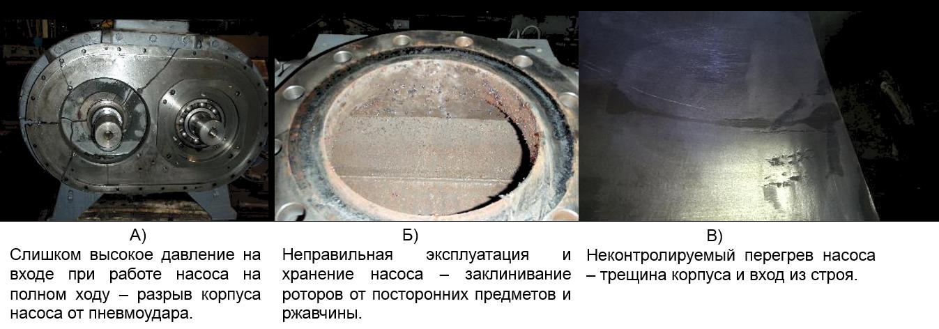 Примеры выхода из строя насосов Рутса